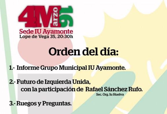Izquierda Unida de Ayamonte invita a los ciudadanos a una asamblea abierta