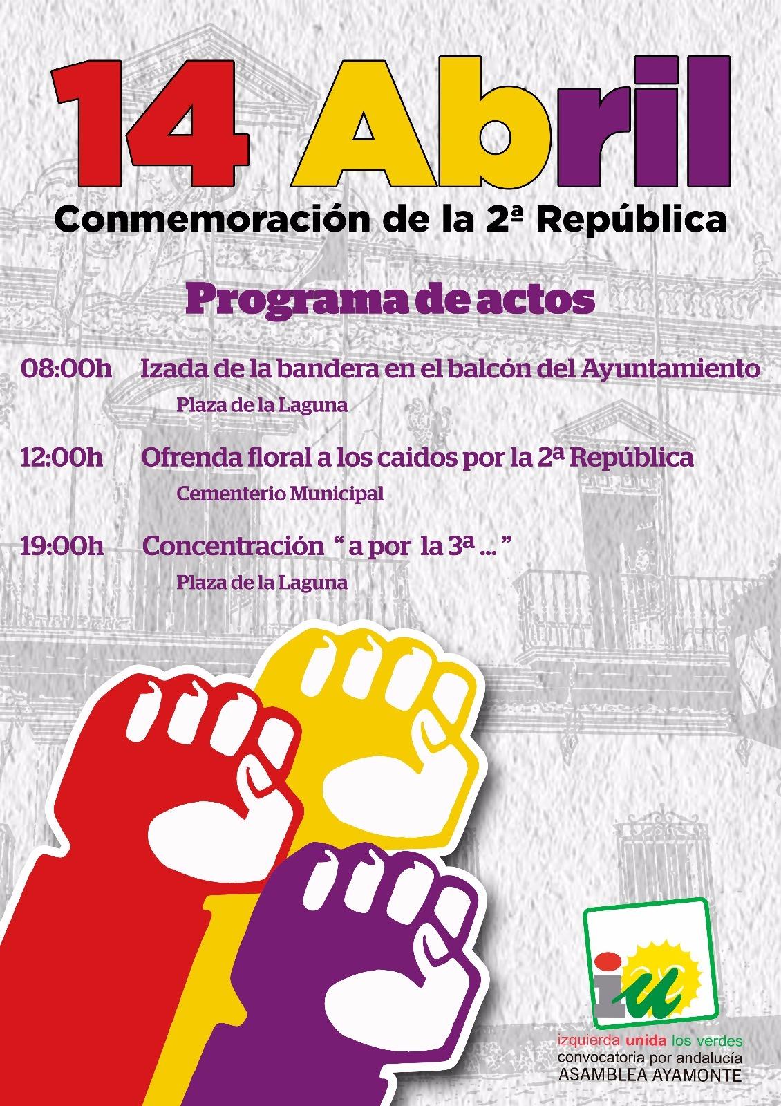 Actos conmemorativos del 14 de Abril, proclamación de la II República.